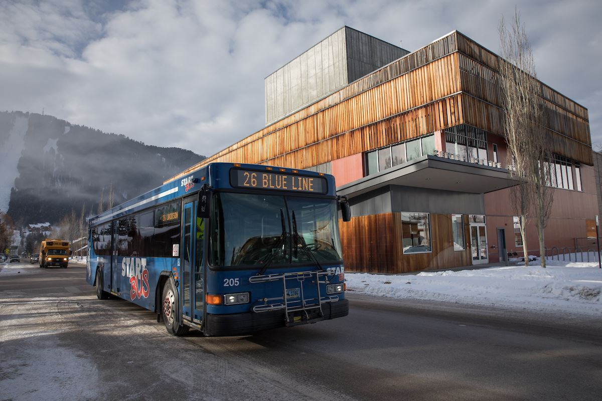 START Bus and Center for the Arts in Winter