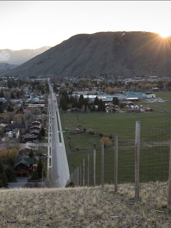 Long View Down Broadway with Elk Refuge at Sunset
