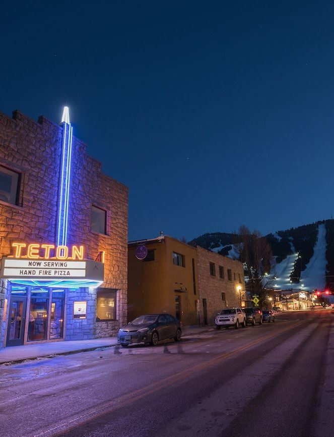 Teton Theater at night lit up
